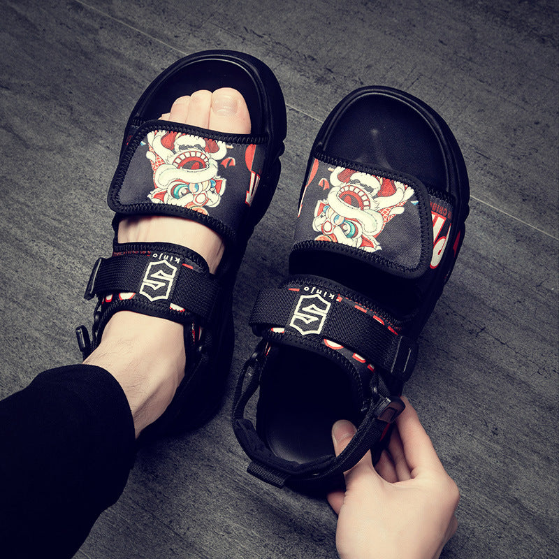 Japanese men's street outdoor character sandals