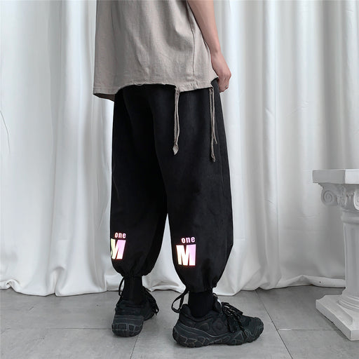 Japanese Loose Luminous Reflective Sports Wide-Leg Casual Pants