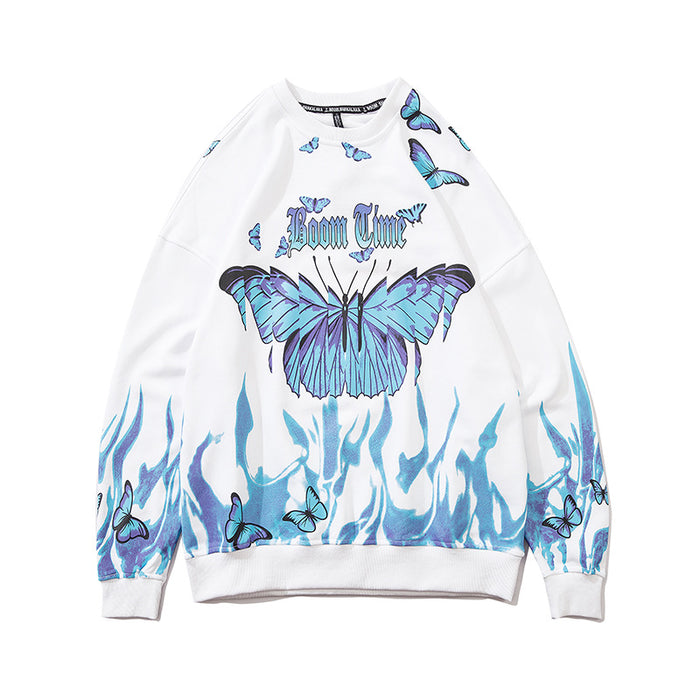 Japanese loose men's style flame butterfly round neck Sweatshirt