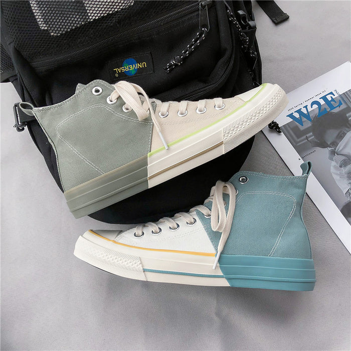 Japanese trendy men's high-top canvas shoes Harajuku style color matching sneakers