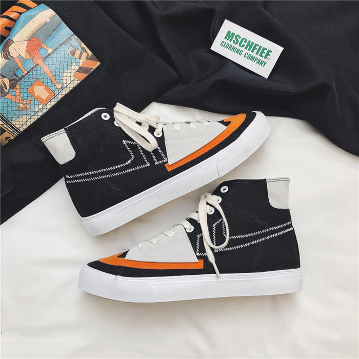 Japanese trendy men's sports all-match sneakers canvas shoes men's high top
