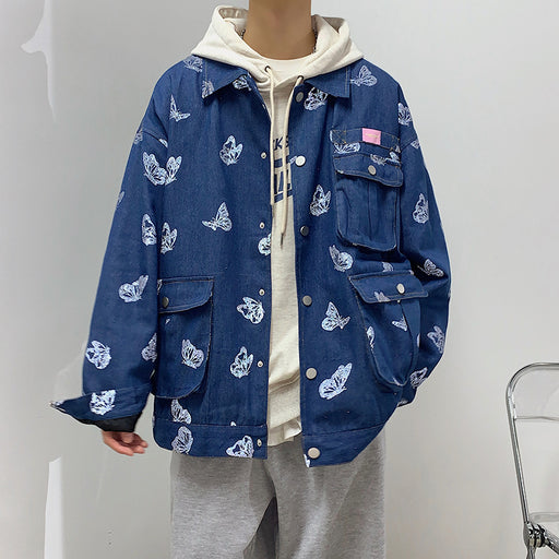 Japanese butterfly reflective jacket couple denim jacket