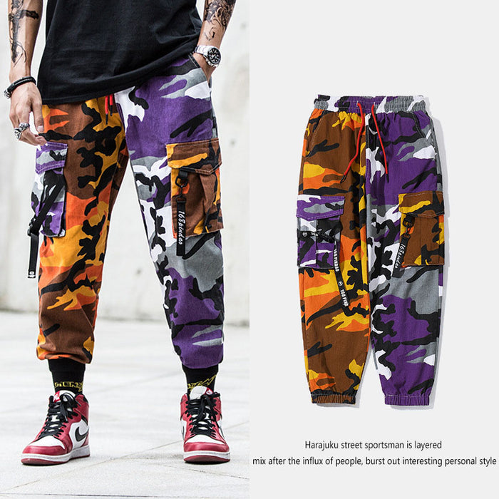 Japanese  Multi-pocket hip-hop belt-footed cargo camouflage pants