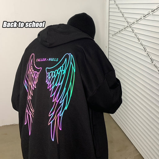 Japanese  Cool reflective butterfly hooded cardigan loose sweater