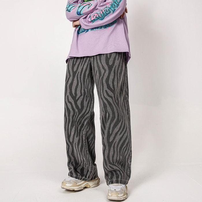 Japanese trendy men's zebra print jeans trousers