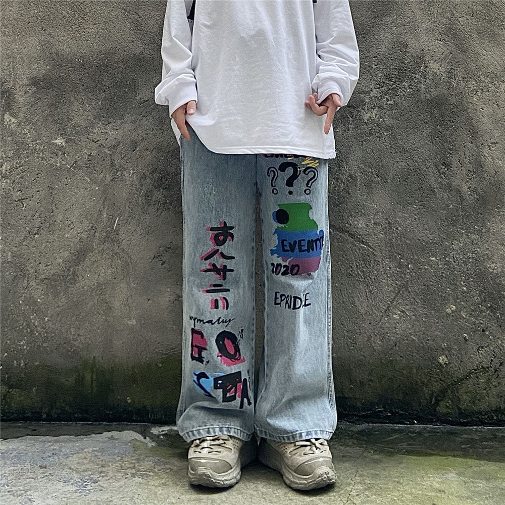 Japanese trendy men's letter printed denim casual trousers
