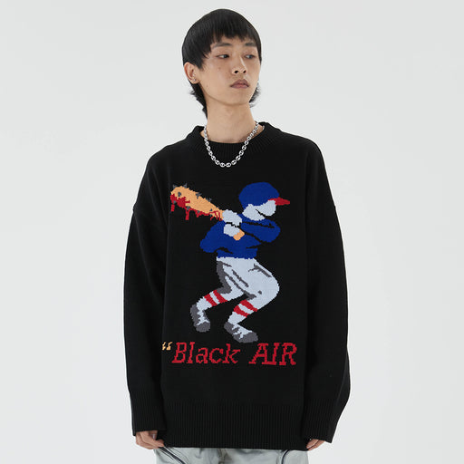 Japanese trendy men's cartoon jacquard sweater men's ins sweater