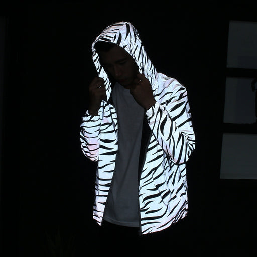 Japanese trend luminous stripes men and women sports hooded couple windbreaker jacket