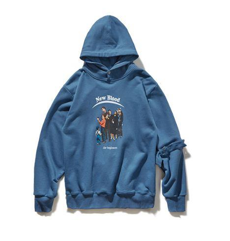 Sleeve High-Precision Printing Hooded Soft Core Japanese Street Light Sweater