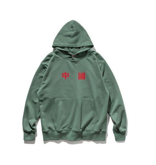 Chinese Text Printing Hooded Soft Core Japanese Street Light Sweater