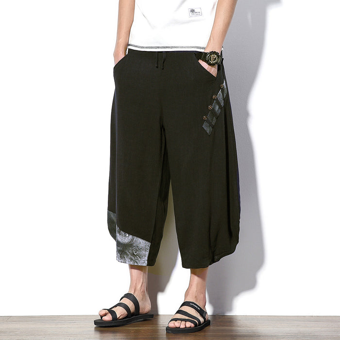 Japanese solid color linen loose casual cropped harem pants