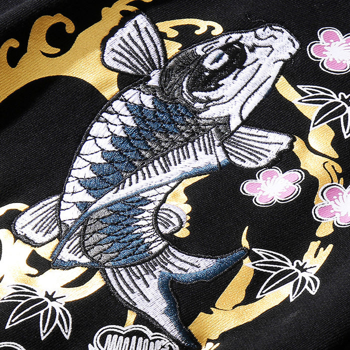 Japanese -Carp embroidered ethnic sweater