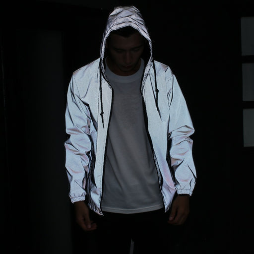 Japanese trendy luminous mesh reflective coat