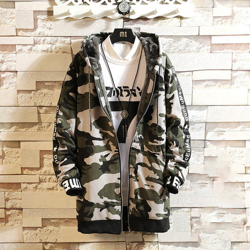 Japanese thick and velvet camouflage loose hooded jacket