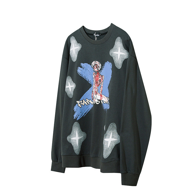 Japanese oversize loose men's personality cartoon round neck Sweatshirt