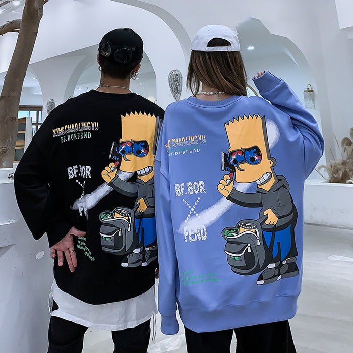 oversize loose cartoon round neck sweater