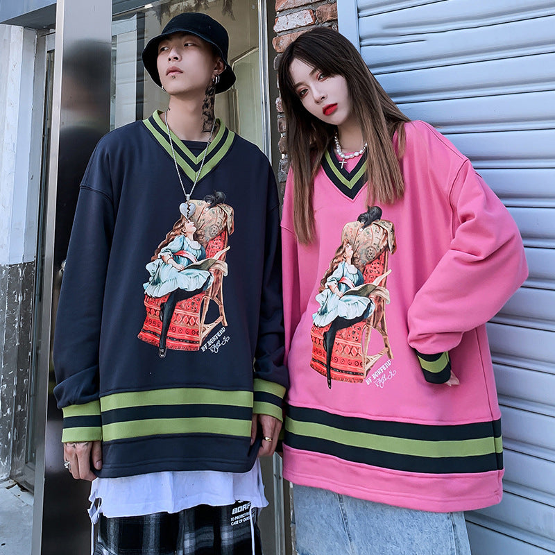 Japanese loose hip-hop V-neck Sweatshirt