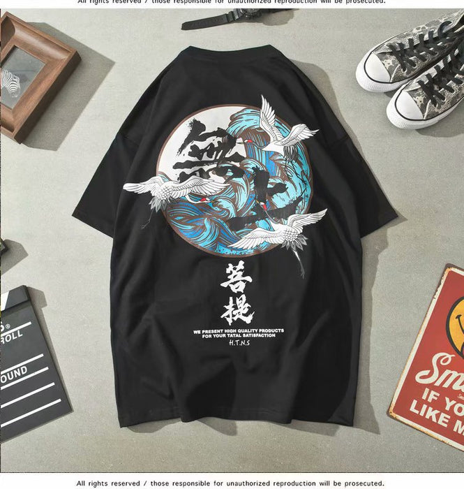 Japanese Tide brand Chinese style round neck short sleeve black T-shirt
