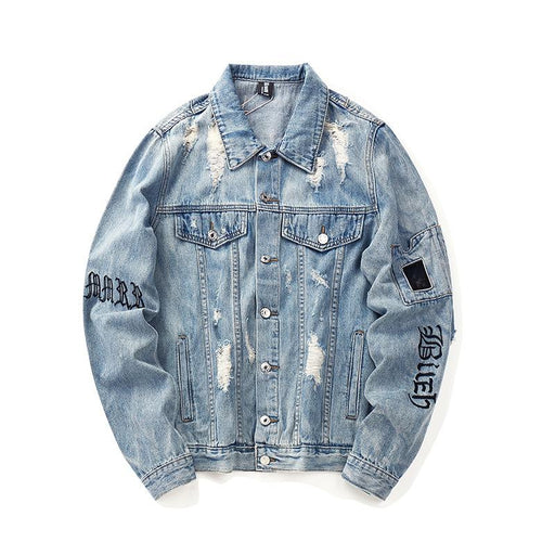 New Jacket Coat Denim Jacket Cardigan Japanese Street Embroidery Hole Tide