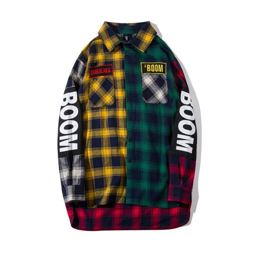 Japanese Street Youth Trendy Creative Plaid Embroidery Long Loose Shirt
