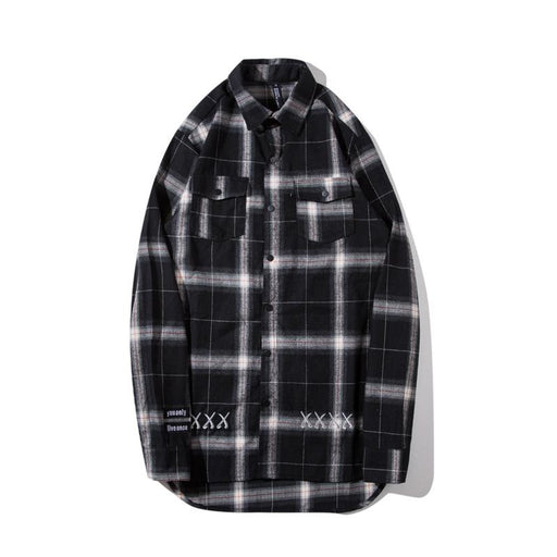 Japanese Long Plaid Lapel Oversize Embroidered Loose Curved High Street Shirt