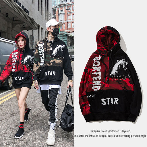 Japanese  Anime Stitching camouflage letters lovers hooded sweater