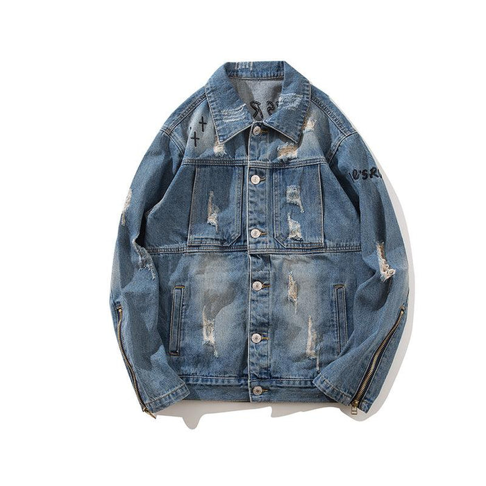 Original High Street Hip Hop Oversize Denim Japanese Street Cross Cardigan Coat