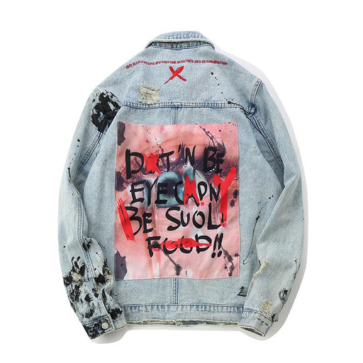 Original Japanese Hip Hop High Street Denim Splash Ink Hole Jackets