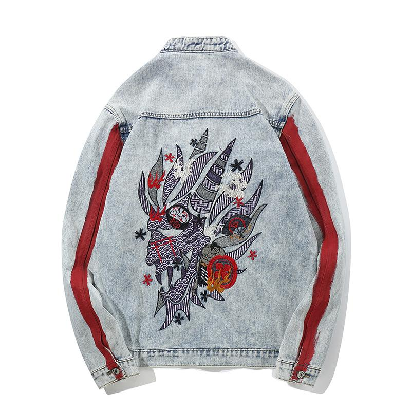 Grunge  dragon head embroidery denim jacket