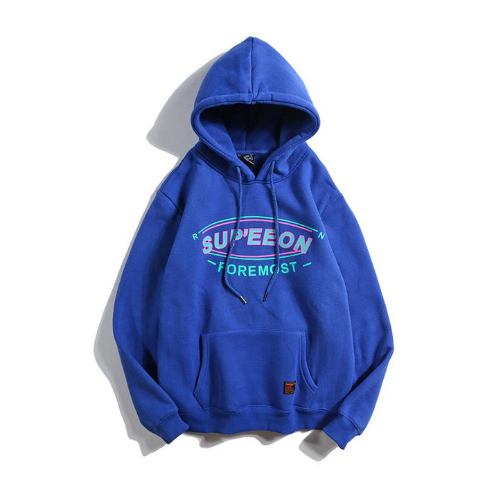 Original Trend Hip Hop Color Map Plus Velvet Hooded Sweater Couple Warm Coat