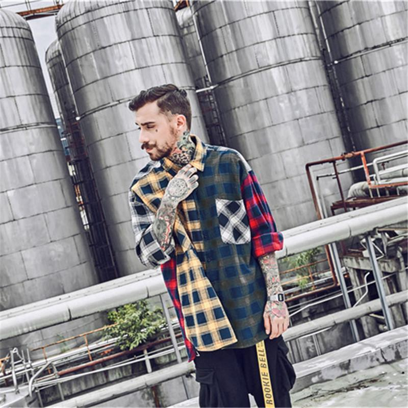 Japanese Street Plaid Patchwork Color Casual Couple Jacket Shirt