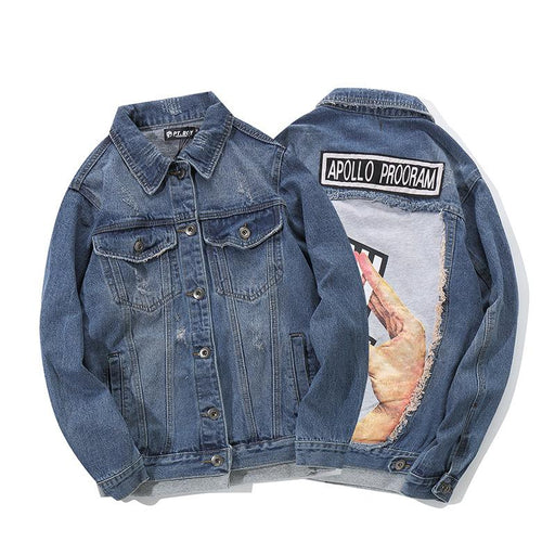 Cross-Border Japanese Street Denim Jacket Cardigan Coat Map Hip-Hop