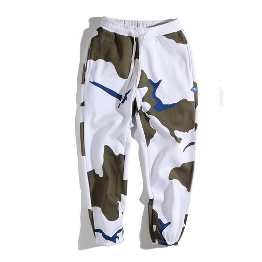 Japanese Loose White Camouflage Plus Velvet Cotton Sports Pants
