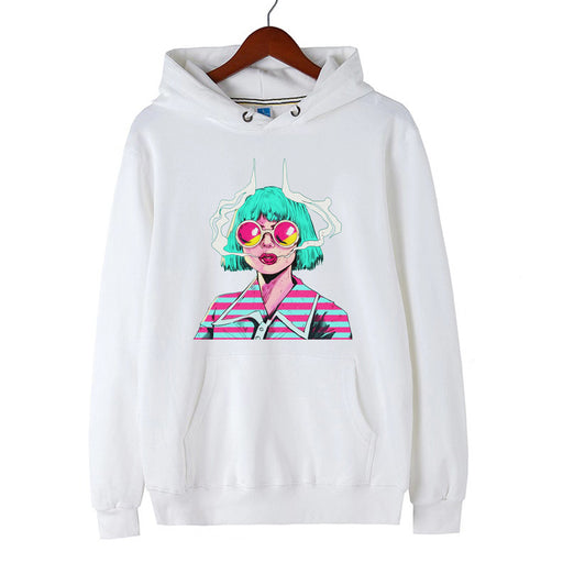 Blue Aesthetics New Retro Wave Pop Smoking Girl Hoodie