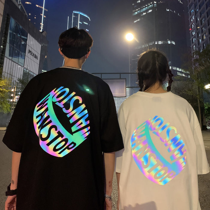 Japanese Trendy Male Personality Colorful 3D Letter Reflective Printed T-Shirt