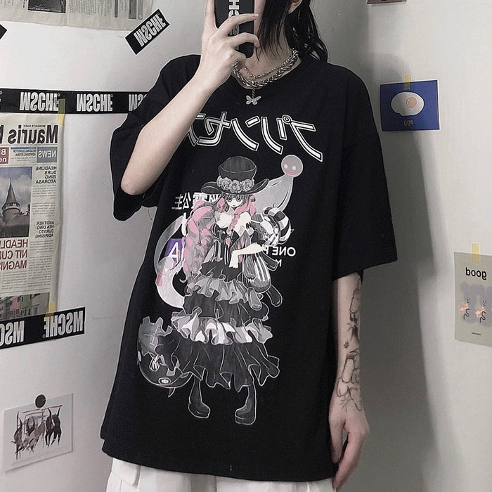 Japanese anime two-dimensional cartoon dark Harajuku style loose t-shirt