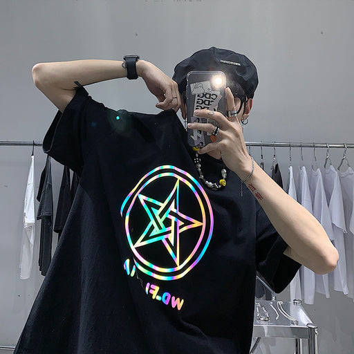 Japanese Trendy Male Personality Pentagram Colorful Reflective Printing T-Shirt
