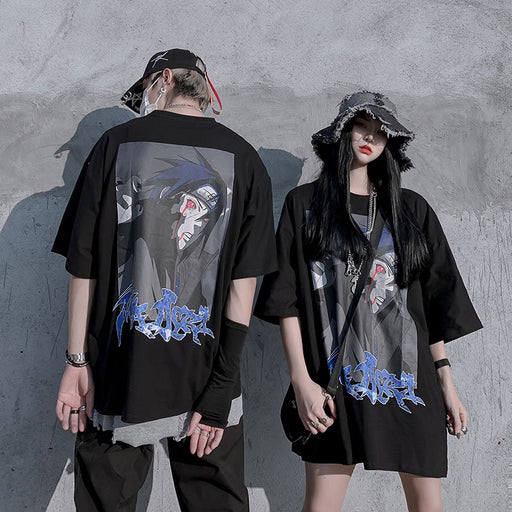 Grunge Japanese Anime Over-Sized Couple  Naruto T-Shirt