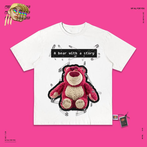 Retro T-shirt Aesthetics Cartoon letter bear