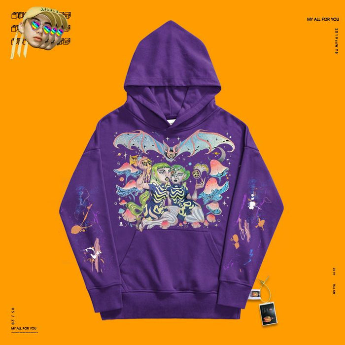 Retro Paint painting dark girl 90s hoodie