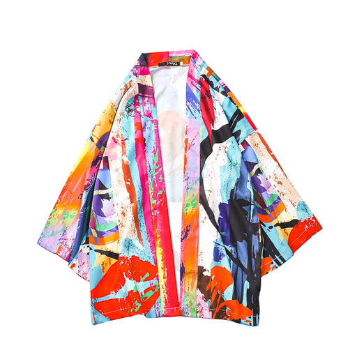 Japanese colorful graffiti robe and style Tang suit men's kimono loose thin style shirt