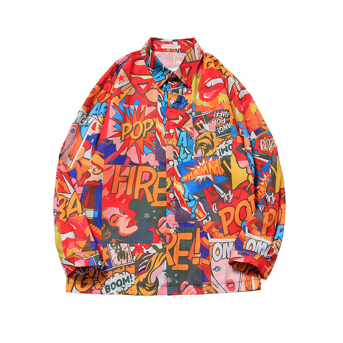 Japanese street hip-hop loose retro flower Shirt
