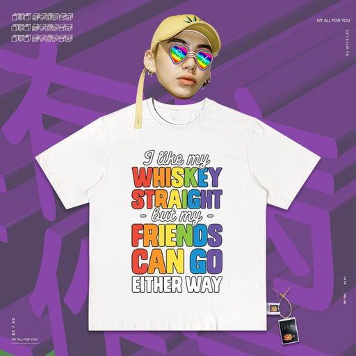 Retro T-shirt Vaporwave Rainbow Colored English Letters