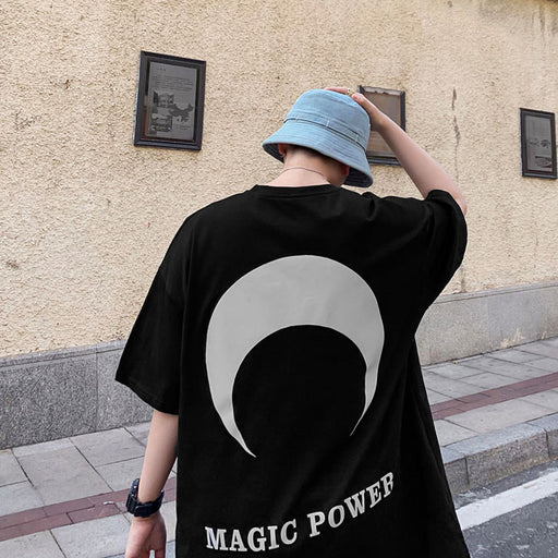 Japanese Trendy Male Personality Half-Moon Printed T-Shirt