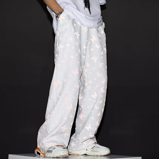Japanese Drape Wide-Leg Pants, All-Match Reflective Butterfly Loose And Thin Sports Straight-Leg Casual pants