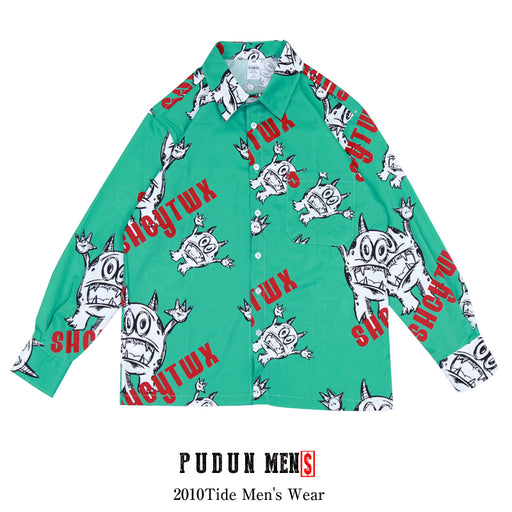 Japanese cartoon print loose shirt