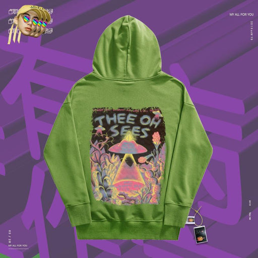 Retro Hand painted alien spaceship darkens 90s hoodie
