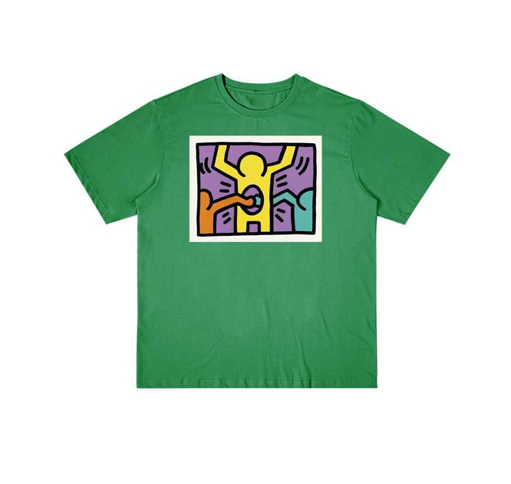 Retro T-shirt 90s Hand-painted Lines Clapping Little People