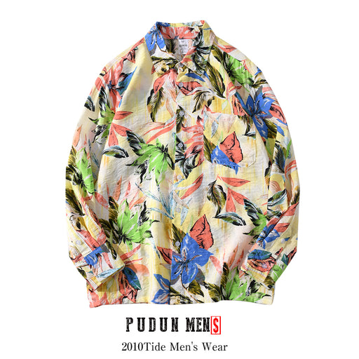 Japanese retro color leaf print long-sleeved flower shirt