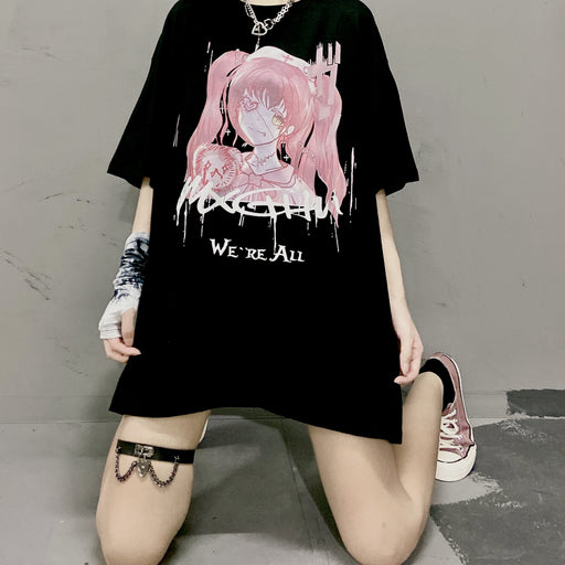 Grunge Japanese Anime Girl Over-Sized Couple  T-Shirt